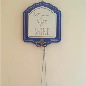 "Wall Jewelry Organizer New ""Let your light shine"""